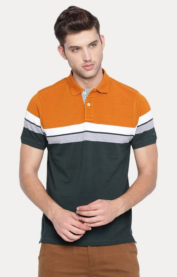 Basics | Green Colourblock Polo T-Shirt