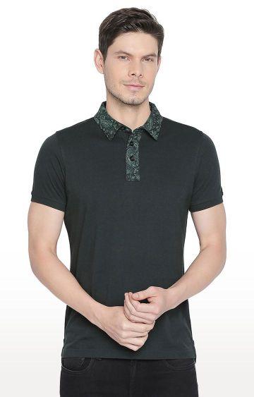 Basics | Green Solid Polo T-Shirt