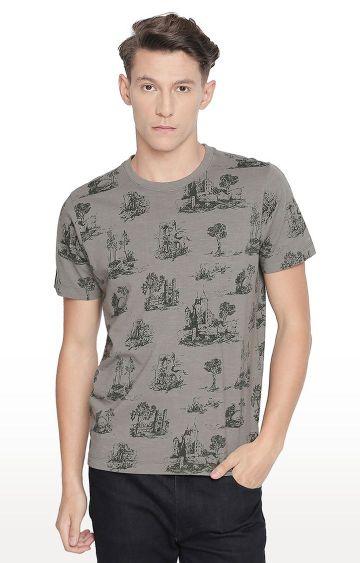 Basics | Olive Printed T-Shirt
