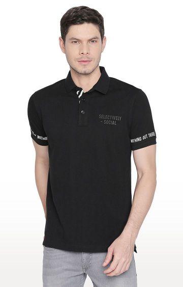 Basics | Black Solid Polo T-Shirt