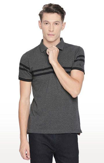 Basics | Dark Grey Striped Polo T-Shirt