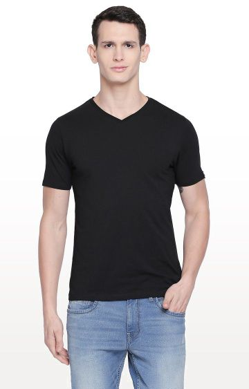Basics | Black Solid Muscle Fit T-Shirt