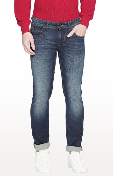Basics | Blue Solid Skinny Fit Jeans
