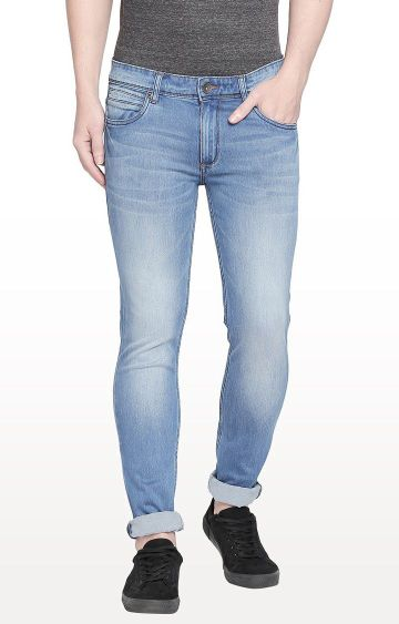 Basics | Blue Solid Super Skinny Fit Jeans