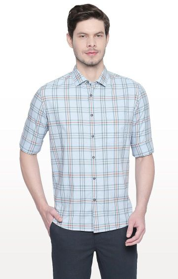Basics | Blue Checked Slim Fit Casual Shirt