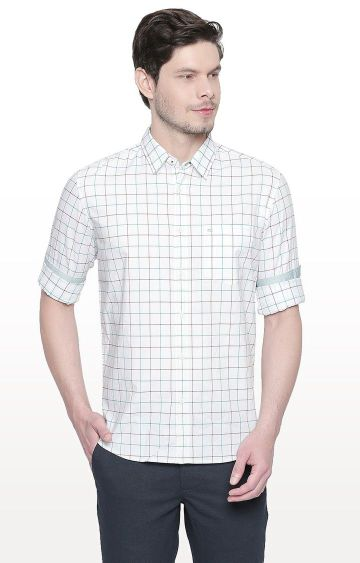 Basics | White and Green Checked Slim Fit Casual Shirt