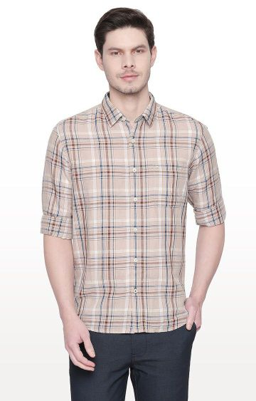 Basics | Beige Checked Slim Fit Casual Shirt