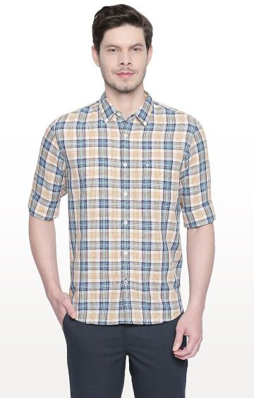 Basics | Yellow Checked Slim Fit Casual Shirt