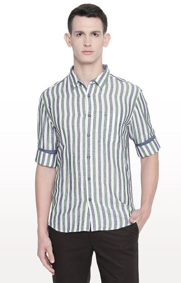 Basics | Green Striped Slim Fit Casual Shirt