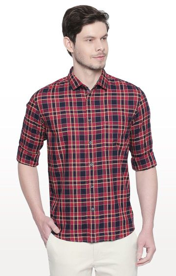 Basics | Red Checked Slim Fit Casual Shirt