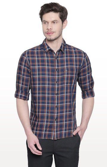 Basics   Brown Checked Slim Fit Casual Shirt