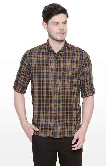 Basics | Khaki Checked Slim Fit Casual Shirt