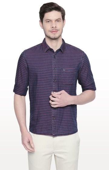 Basics | Red Striped Slim Fit Casual Shirt