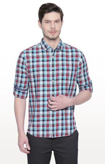 Basics | Aqua Checked Slim Fit Casual Shirt