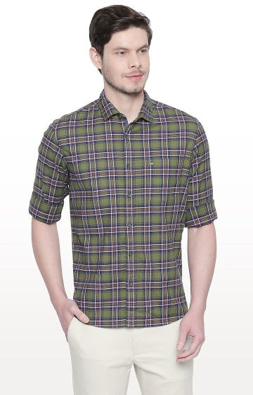 Basics | Green Checked Slim Fit Casual Shirt