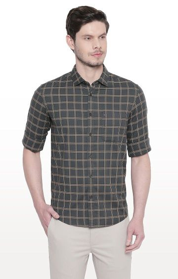 Basics | Green Checked Slim Fit Casual Shirt