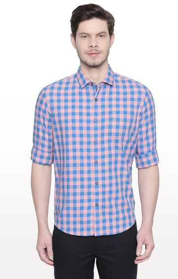 Basics | Blue and Pink Checked Slim Fit Casual Shirt
