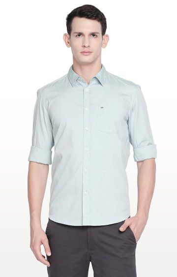 Basics | Green Solid Slim Fit Casual Shirt