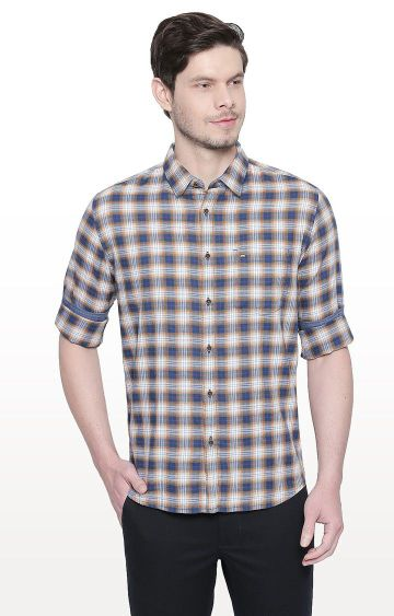 Basics | Brown Checked Slim Fit Casual Shirt