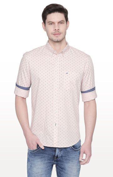 Basics | Orange Printed Slim Fit Casual Shirt