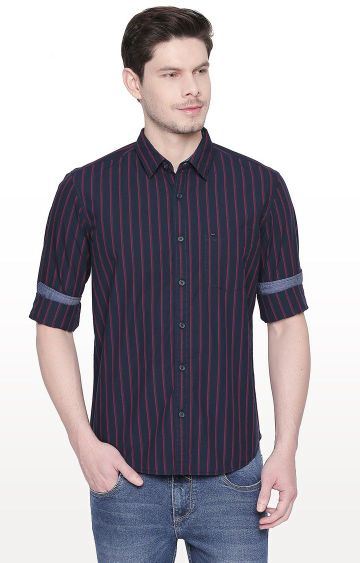 Basics | Navy Striped Slim Fit Casual Shirt