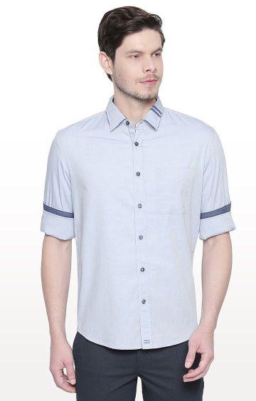 Basics | Blue Solid Slim Fit Casual Shirt