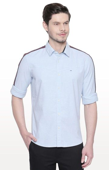 Basics | Blue Solid Slim Fit Casual Shirt
