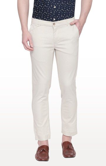 Basics | Ecru Tapered Chinos