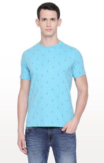 Basics | Blue Printed T-Shirt