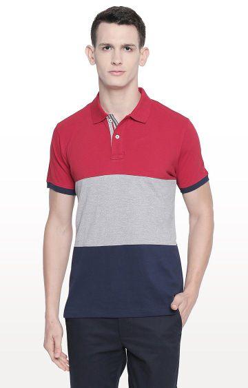 Basics | Red Colourblock Polo T-Shirt