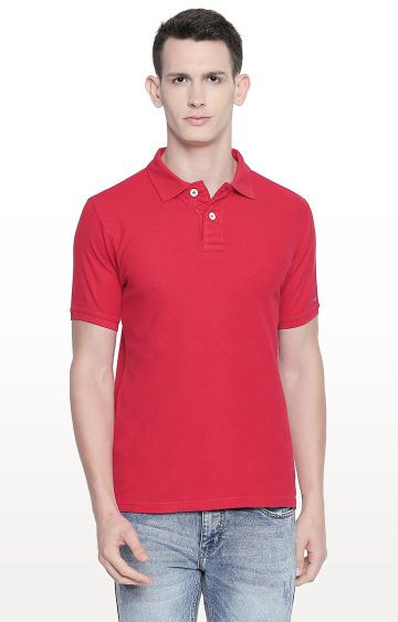 Basics | Red Solid Polo T-Shirt