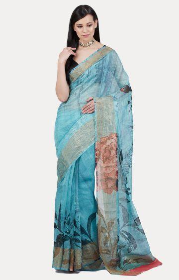 SATYA PAUL | Blue Printed Saree