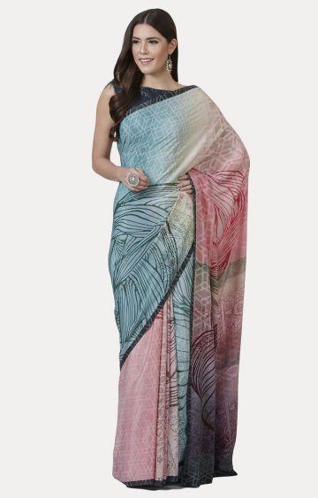 SATYA PAUL | Blue and Pink Printed Saree