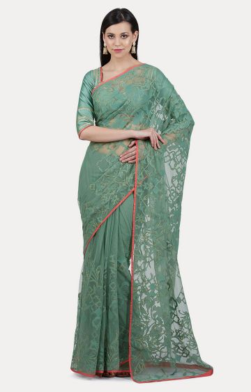 SATYA PAUL | Green Embroidered Saree