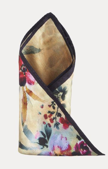 SATYA PAUL | Beige Floral Pocket Square