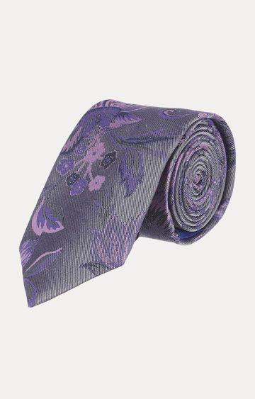 SATYA PAUL   Grey Printed Tie