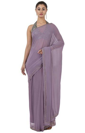 SATYA PAUL | Purple Solid Saree