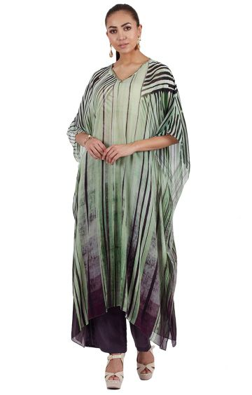 SATYA PAUL | Green Striped Kaftan Kurta
