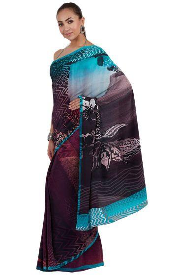 SATYA PAUL | Purple Printed Saree