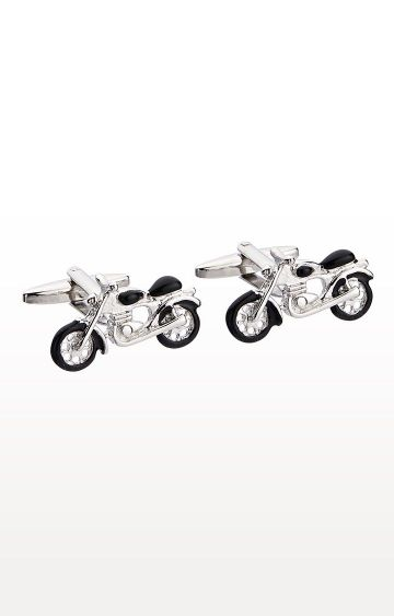 SATYA PAUL | Silver Metal Nickel Shiny Cufflinks