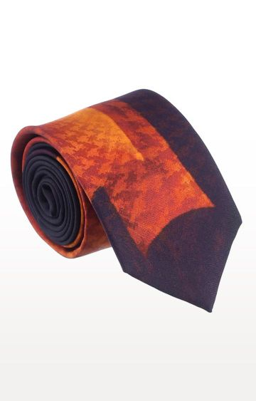 SATYA PAUL | Orange Silk Printed Tie