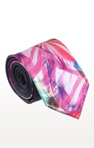 SATYA PAUL | Pink Silk Printed Tie