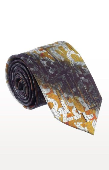 SATYA PAUL | Yellow Silk Printed Tie