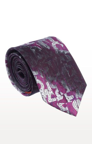 SATYA PAUL | Wine Silk Printed Tie