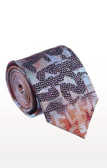 SATYA PAUL | Peach Silk Printed Tie