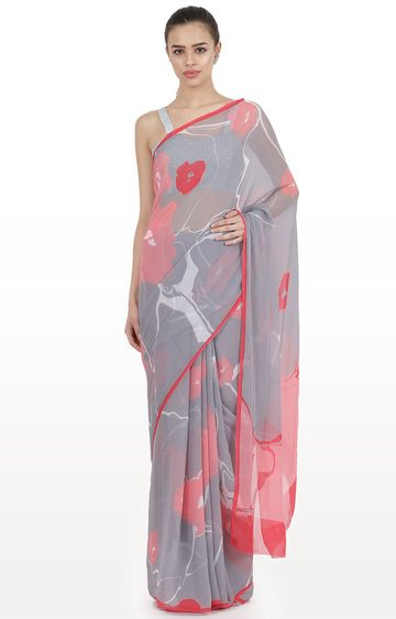 SATYA PAUL | Grey Printed Furano Collection Saree