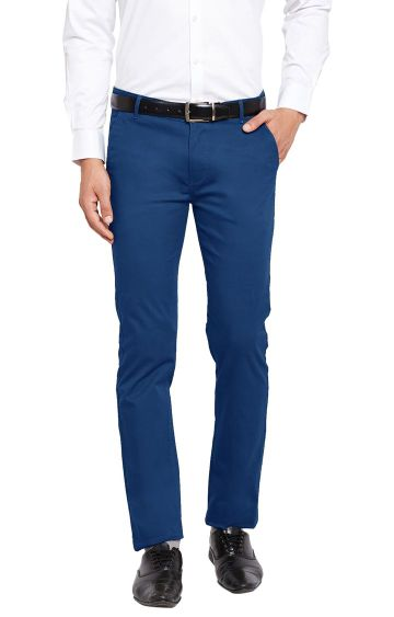 HANCOCK | Royal Blue Solid Flat Front Formal Trousers
