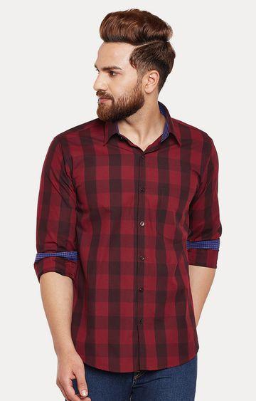 HANCOCK | Maroon Checked Casual Shirt