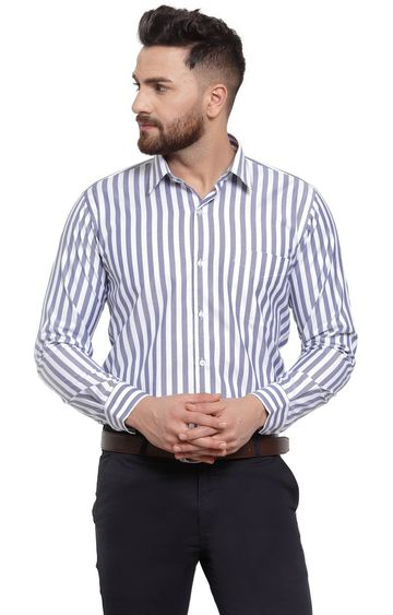 HANCOCK | White and Blue Striped Formal Shirt