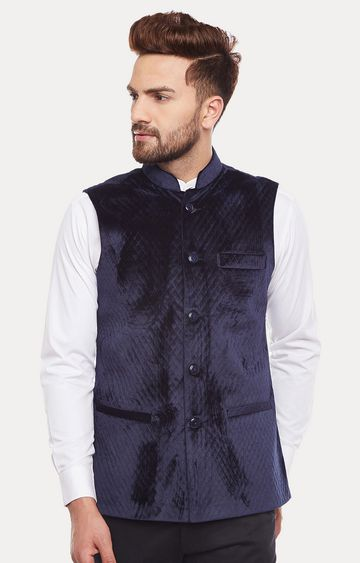 HANCOCK | Navy Solid Ethnic Jacket
